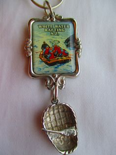 River rafting necklace with sterling silver raft & SS chain - classic kiwiana! visit www.bornwithasilverspoon.co.nz
