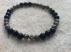 Black Onyx and Cross Beads Chrome Hearts 6mm Bracelet $286