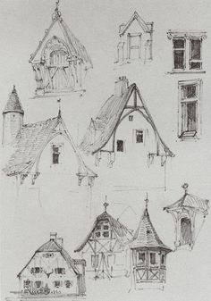 Beautiful and simple sketches of Bavarian type buildings. Architectural sketches. From travelling in Germany. - Vasily Polenov