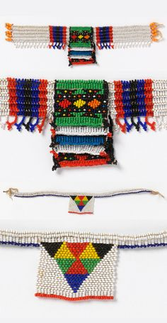 "Necklace known as a ""love letter."" White beaded square with multicolored interlocking triangles, suspended from white beaded cords. Contemporary African Art, Cotton String, Afro, Neck Piece, African Culture, African Design, White Beads, Crafty Craft, Lampwork Beads"