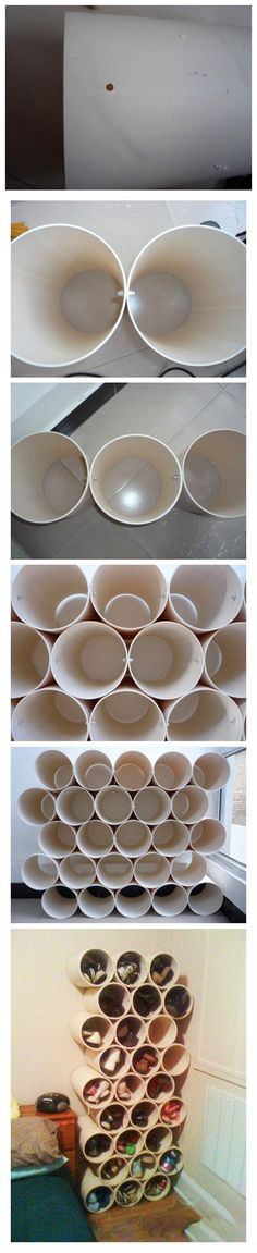 DIY: Stunning Fashion Ideas/ This pin is blocked, but you get the idea. These look like PVC pipes. Great storage for shoes, scarves, whatever.
