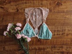 Lace Racer Back Bralette 'Cordelia' Seafoam Green and Champagne Vintage Style Lingerie Handmade to Order by Ohh Lulu