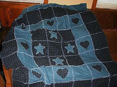 Primitive Hearts  Stars Rag Quilt Pattern - sew-whats-new.com