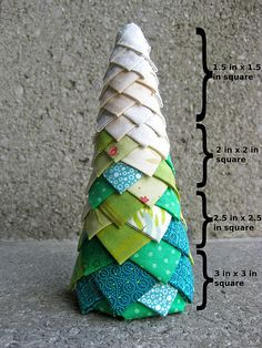 DIY Christmas tree cone formed from fabric scraps and a polystyrene or cardboard cone like we stock at www.craftmill.co.uk. Cute! Craft your own!