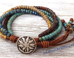 Leather And Seed Bead Bracelet Beaded by AZJEWELRYBYELIZABETH