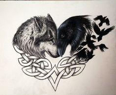 Wolf and raven forever by artbyjpp on deviantart tattoo ideas татуировки, в Skull Tatto, Neck Tatto, Tattoo Hals, Tatoo Art, Deer Tattoo, Tattoo Tree, Trendy Tattoos, Cute Tattoos, Body Art Tattoos