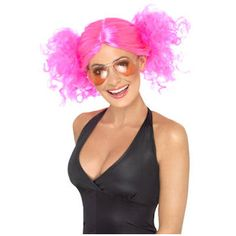 78902067f2 Bunches Wig - Neon Pink color Fancy Dress Wigs