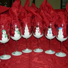 Holiday Snowman Party hand painted wine glasses by GlassesbyJoAnne
