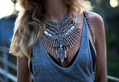 jewels necklace boho hipster festival silver silver necklace blogger native fox underwear statement necklace tank top bralette