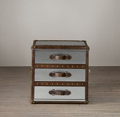Mayfair Steamer Trunk Cube with Drawers in Brushed Steel from Restoration Hardware