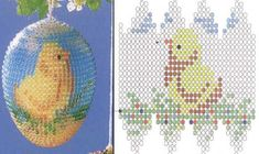 """Egg Bead """"Chicken"""" - Easter theme - Plans weaving beads - Treasury papers - Weave beaded jewelry, trees and flowers, circuits u"""