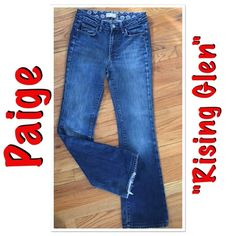 """Paige premium denim """"Rising Glen"""" jeans Paige premium denim """"Rising Glen"""" jeans. Approx measurements are inseam 31"""", rise 9 1/4"""", and leg opening 18"""". A bit of wear on the bottom as shown. 98% cotton and 2% spandex. The perfect jeans that don't """"bag"""" as you wear them!  Paige Jeans Jeans Boot Cut"""