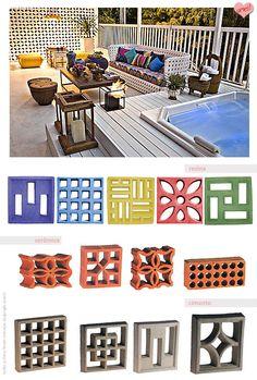 cobogos coloridos Wardrobe Door Designs, Interior Architecture, Interior Design, Corner Pergola, Bed Lights, Concrete Blocks, House Made, Pergola Plans, Modern Exterior
