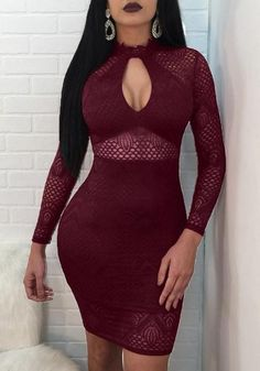Burgundy Lace Cut Out Sheer Bodycon Clubwear Party Midi Dress, Shop plus-sized prom dresses for curvy figures and plus-size party dresses. Ball gowns for prom in plus sizes and short plus-sized prom dresses for Sexy Outfits, Sexy Dresses, Cute Outfits, Fashion Outfits, Tight Dresses, The Dress, Dress Skirt, Bodycon Dress, Dress Lace