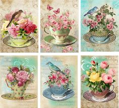 Vintage inspired Tea Cup birds roses card tags ATC altered art set of 6 #HandMade #AnyOccasion