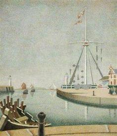 Honfleur, France, Entrance to the Harbour - Edward Wadsworth