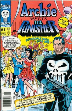 I want so bad... It featured the unlikely meeting of Marvel's murderous vigilante, the Punisher, and Archie Comics' all-American teenager, Archie Andrews. The book was written by Batton Lash, with artwork by John Buscema(drawing the Punisher characters) and Stan Goldberg (drawing the Archie characters).