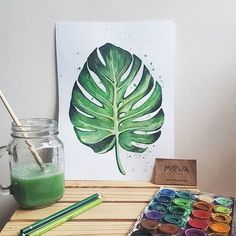 I have always loved leaves and only now painted one. 3 days onlyyyyy SAVE off . Plant Painting, Plant Art, Painting & Drawing, Watercolor Leaves, Watercolor Paintings, Minimal Art, Kunst Poster, Botanical Wall Art, Painted Leaves