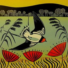 """Swooping Swallow"" 2012, 3-block linocut by Cathy King. http://cathykingprints.com/ Tags: Linocut, Cut, Print, Linoleum, Lino, Carving, Block, Woodcut, Helen Elstone, Landscape, Birds, Flowers, Trees."