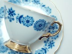 Hammersley Blue Flowers Floral Border Gold Trim Tea Cup and Saucer Vintage Fine Bone China Made in England