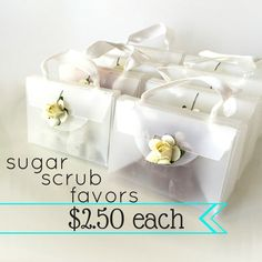 Bridal Shower Favors - Sugar Scrubs - 2.50 each - Unique Bridal Shower Favors - White Boxes with a Ivory Paper Rose - Mini Sugar Scrubs by BButtonsCo on Etsy https://www.etsy.com/listing/228026164/bridal-shower-favors-sugar-scrubs-250