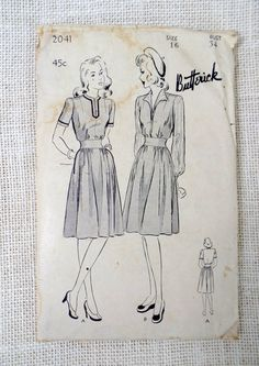 Vintage Pattern Butterick 2041 1940s Bust by momandpopcultureshop