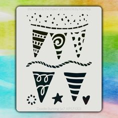 5x7 KP-003 doodle bunting stencil