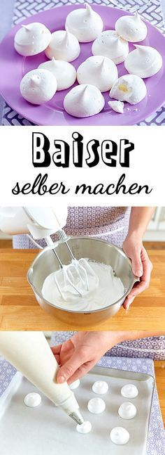 Baiser selber machen – so geht's Actually, it is meringue to simple egg whites, which is pitched with a lot of fine sugar and then dried in the oven. Nevertheless, there is a lot to consider in the preparation. We show you how to make meringue yourself. Sweets Cake, Cupcake Cakes, Sweet Recipes, Cake Recipes, How To Make Meringue, Cake & Co, Thanksgiving Desserts, Halloween Desserts, Cakes And More