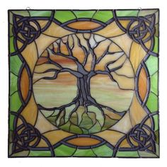 "Stained Glass Panel (26""x26"") - ""Tree of Life with Celtic Ornamentation"" - by Smash Glassworks [FINISHED CUSTOM PROJECT]"