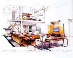 Innenarchitektur skizze wohnzimmer  Pin von sunfan auf 手绘 | Pinterest | Perspektive, Skizzen und ...