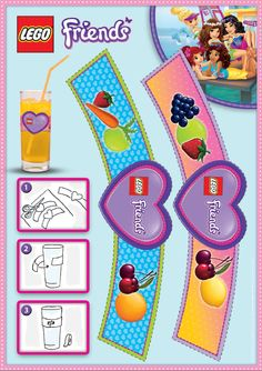 LEGO Friends Party Pieces: Print and cut these wonderful labels out for glasses at a party! There is no easier way to personalize your guests' glasses the LEGO way. Lego Friends Cake, Lego Friends Birthday, Lego Friends Party, Lego Birthday Party, 6th Birthday Parties, Lego Girls, Lego Challenge, Lego Activities, Friend Crafts