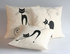 Set of THREE Sassy black cat decorative throw pillow covers - Black cat cushion covers - 16 x 18 x 20 x 24 x 26 x 26 inch Cat Cushion, Cushion Covers, Throw Pillow Covers, Cat Pillow, Halloween Season, Linen Fabric, Decorative Throw Pillows, Cat Lovers, Bed Pillows