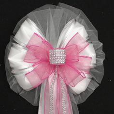 Pink Bling Glitter White Wedding Pew Bows