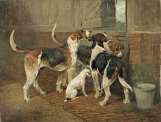 Bonhams : John Emms (British, Five hounds and a dipper of water Smooth Fox Terriers, The Fox And The Hound, Historical Art, Dog Portraits, Animal Paintings, Dog Art, Dog Pictures, Female Art, Dogs