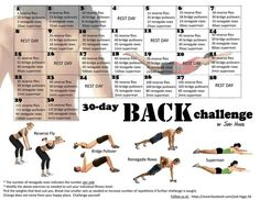 30 Day Back Challenge Fitness Workout Chart Fitness Workouts, 30 Day Fitness, Sport Fitness, Fitness Diet, Fitness Motivation, Workout Tips, Exercise Motivation, Thigh Workouts, Workout Exercises