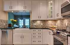 Small Kitchen Modern with L-Shaped White Cabinets