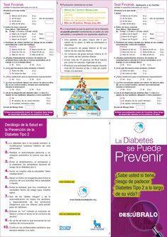 ¿Sabe usted si tienen riesgo de padecer Diabetes Tipo 2 a lo largo de su vida? Descúbralo con el test Findrisk.(Tríptico)