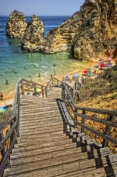 Lagos, Algarve, Portugal. This is one of my fave beaches ever - snorkelling there tomorrow.
