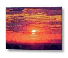 Red Sky at Night: Ombre Ocean Sunset Metal Wall Art in Yellow, Orange & Violet Purple by Susan Maxwell Schmidt