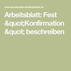 "Arbeitsblatt: Fest ""Konfirmation"" beschreiben"