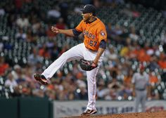 CrowdCam Hot Shot: Houston Astros relief pitcher Jorge De Leon pitches during the seventh inning against the Los Angeles Angels at Minute Maid Park. Photo by Troy Taormina