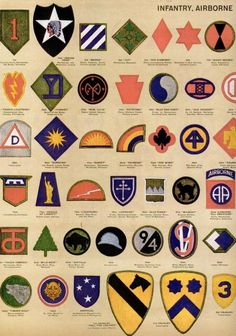 See dozens of vintage US Army & Navy shoulder insignia, plus WWII military medals & ribbons - Click Americana Army Ranks, Military Ranks, Military Units, Military Insignia, Military History, Military Life, Military Medals And Ribbons, Us Military Medals, Army Medals