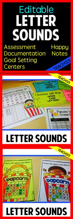 Editable Letter Sound program: assessments, documentation, goal setting, centers, and happy notes. Great for RTI and parent teacher conferences. Perfect for kindergarten and 1st grade. paid