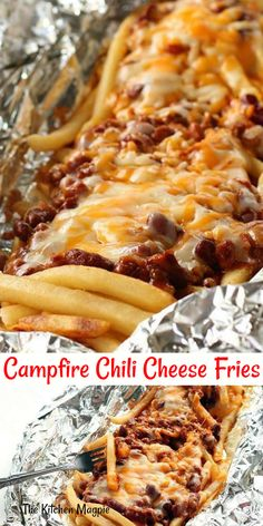 Easy, delicious and chili cheese fries that are done on the BBQ! These chili che. Easy, delicious and chili cheese fries that are done on the BBQ! These chili cheese fries won't heat up your kitchen and can by made when you are camping! Tin Foil Dinners, Foil Pack Meals, Camping Foil Dinners, Camp Fire Dinners, Hobo Dinners, Chili Cheese Fries, Campfire Food, Easy Campfire Meals, Campfire Breakfast