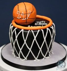 basketball cake - For more basketball birthday decorations visit www.getthepartystarted.etsy.com