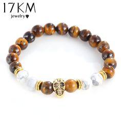 17KM Men Bracelets Gold Color Skull Bead Charm Buddha Charm Lava Bracelet Matte Yoga Natural Stones For Women Fashion Jewelry