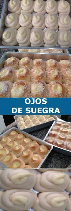 Mi amiga tiene una panadería y me enseñó la receta de OJOS DE SUEGRA DELICIOSA que e. Sweet Pastries, Bread And Pastries, Mexican Food Recipes, Sweet Recipes, Dessert Recipes, Pan Bread, Bread Baking, Spanish Desserts, Pan Dulce