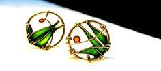 Emerald Green Earrings.12K Gold Filled Earrings. by KUKLAstudio