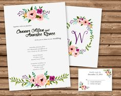 Get the vintage floral watercolor Wedding Invitations and RSVP Cards you've been looking for, for your beautiful floral wedding suite, featuring a watercolor floral design on the front and back, personalized with your initials on the front and your wedding details on the back!