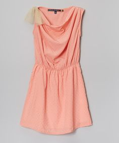 Look at this Coral Drape Neck Dress - Girls on #zulily today!